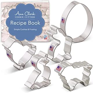 Ann Clark Cookie Cutters 5-Piece Easter Animal Cookie Cutter Set with Recipe Booklet, Egg, Bunny, Lamb, Duck and Chick