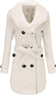 Howely Women's Autumn Warm Faux Fur Collar Double Breasted Closure Coat