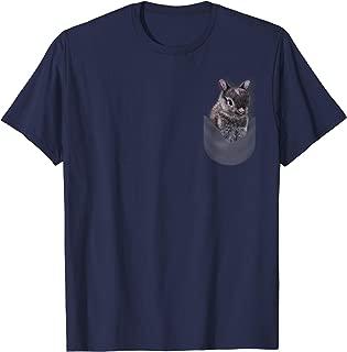 T-Shirt, Cute Gray Netherland Dwarf Bunny in Pocket, Rabbit
