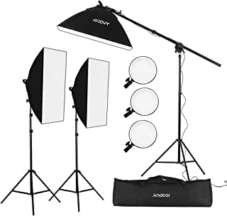 Andoer Studio Photography Softbox LED Light Kit Including 20 * 28 Inches Softboxes 45W Bi-color Temperature 2700K/5500K Di...