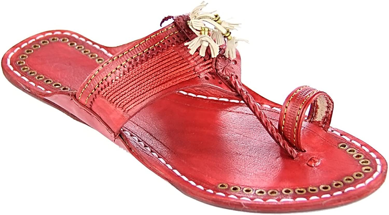 KOLHAPURI CHAPPAL Original Designer's Royal Look Cherry red fine Braids Flat Heel Ladies Slipper Sandal