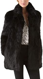 Tanming Women's Casual Stand Collar Long Sleeve Outerwear Faux Fur Jacket Coats