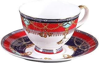 ヨーロピアンスタイルの高級スタッキングコーヒーカップ&ソーサーコンボ7.0オンス/ 200ミリリットル、ハイグレードボーンチャイナ、クリエイティブフラワーティーアフタヌーンティーカップ(オフィス用および家庭用)、手塗りゴールドリム、レッド