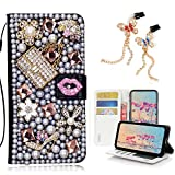STENES Bling Wallet Phone Case Compatible with iPhone 11 - Stylish - 3D Handmade Sexy Girls Bag High Heel Lips Leather Cover with Bling Butterfly Dust Plugs [2 Pack] - Pink