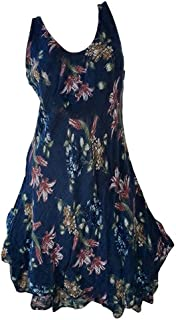 YYLZA Women Clothes Loose Floral Print Sleeveless Dress For Ladies Fashion Casual Summer Cotton Party Dress