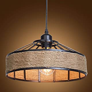 Ganeed Industrial Pendant Lights,Vintage Kitchen Islands Hanging Light Fixture Ceiling Lamp,Metal and Hemp Rope Caged Chandelier Hanging lamp for Farmhouse Dining Room,Bar, Restaurant
