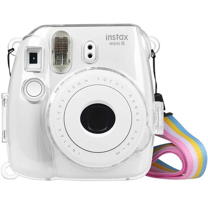 まぶしさ以下繕うFintie FUJIFILM インスタントカメラ チェキ Fujifilm instax mini 9 / mini 8 / mini 8プラス クリア カメラケース 透明 ハード PVC カバー 首掛け ストラップ付き クリスタルシェル