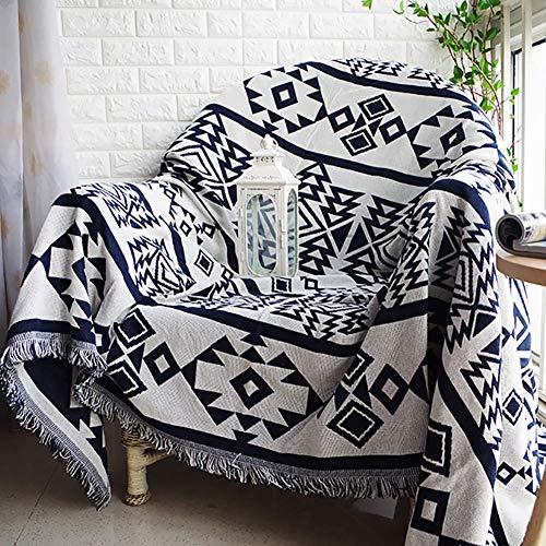 MWyanlan 1 Pieza Fundas de sofá de algodón Estilo mediterráneo sofá arroja película Protectora Reversible sofá Silla Fundas sofá manta-180x230cm(71x91inch) RE.
