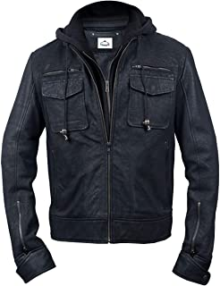 Procedent Hooded Black and Brown Real Snuff Leather Jacket for Men Big and Tall Classic