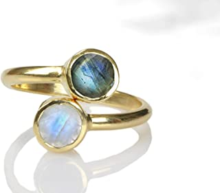 Elegant AA Labradorite-Moonstone Ring by Anemone Unique - Adjustable Stacking Gold Ring Sizes 3 to 12.5 - Handmade with Engraving Available and Gift Box