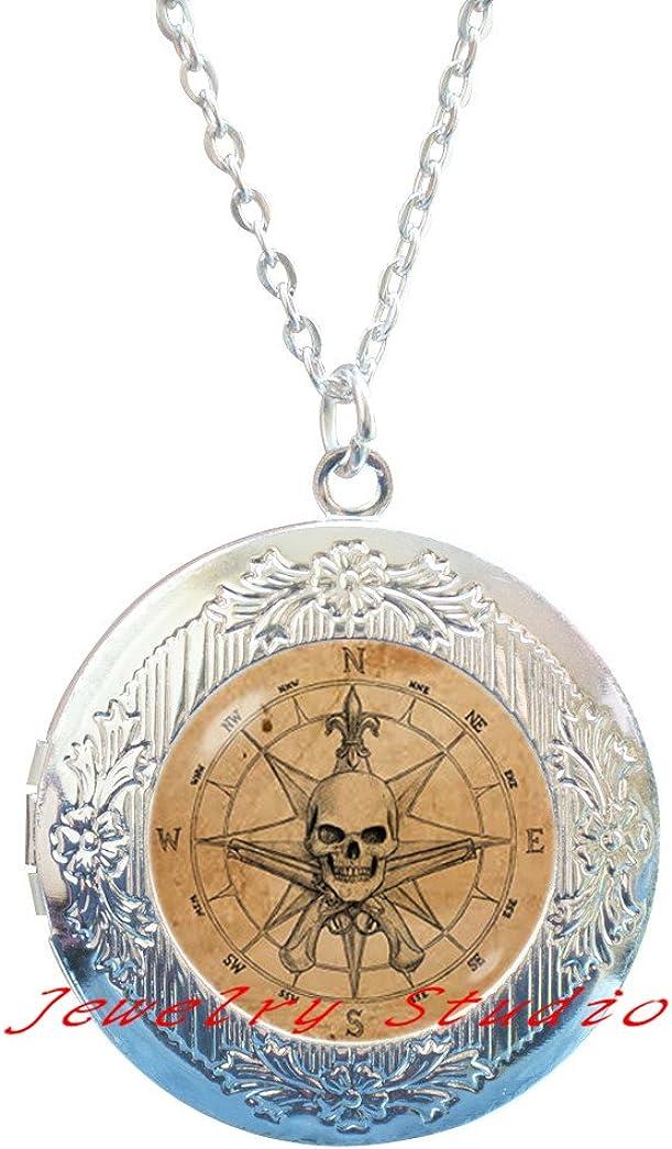 JewelryStudio Charming Fashion Locket Necklace,Compass Locket Necklace, Graduation Friendship Locket Necklace, Best Friends, BFF Gift-HZ00103