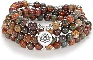 Prayer Yoga Jewelry Lotus Seed Charm Wrist Bracelet Mala Beads 108 Rosary Necklace Meaningful Handmade Gifts