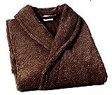 Lasa Pure Albornoz con Cuello Tipo Smoking, algodón 100%, Marrón, XXL