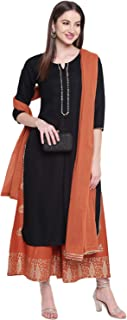 Khushal K Women's Rayon Solid Kurta With Palazzo Dupatta Set (Black)