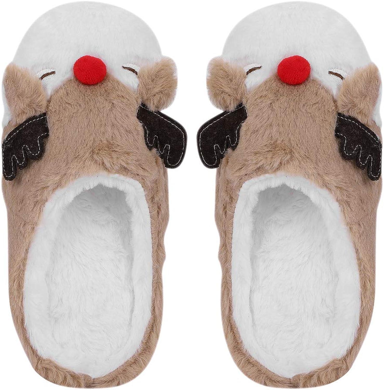 LONTG Women's Plush Winter Slippers Warm Animal Soft Cute Anti-Slip Home Slippers Deer