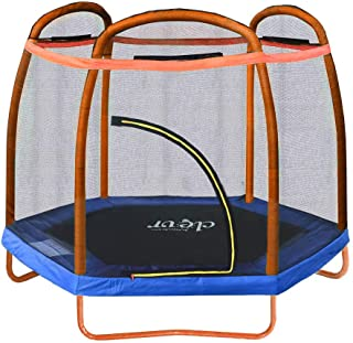 Clevr 7ft Kids Trampoline with Safety Enclosure Net & Spring Pad, 7-Foot Outdoor Round Bounce Jumper 84