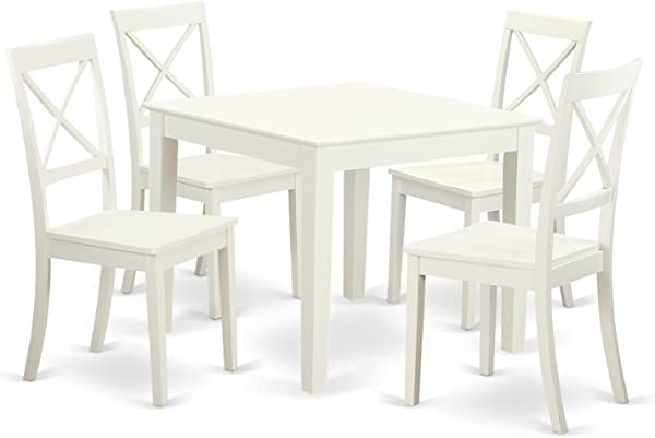 East West Furniture OXBO5 LWH W 5Piece Small Kitchen Table Set 4 Hardwood Dining Chairs Oxford In Linen White Finish
