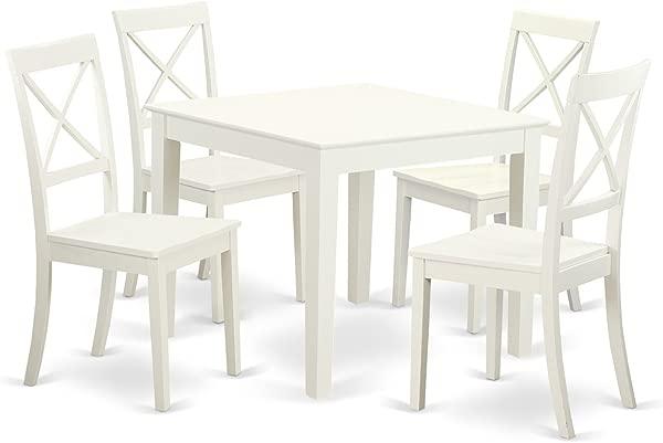 东西家具 OXBO5 LWH W 5 件小厨房餐桌套装 4 硬木餐椅牛津亚麻白色饰面