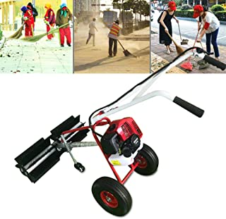 TBvechi Power Sweeper, 43CC 2 Stroke Handheld Gas Power Sweeper Nylon Brush Sweeping Broom Air-Cooled