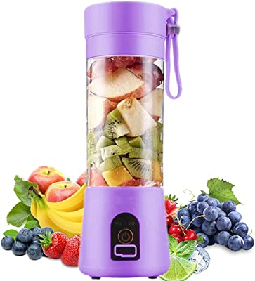 Portable Blender, Personal Blender, Small Fruit Mixer, Electric USB Rechargeable Juicer Cup with 6 Blades, Fruit Mixing Machine Home,BBQ,Travel (Purple)