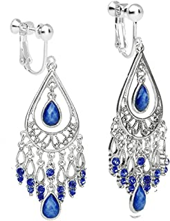 Clip on Dangle Chandelier Tassels Earring Long Drop Screw Back for non Pierced Women Indian Fashion Navy