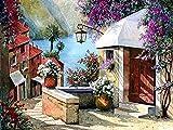 5D DIY diamante bordado ciudad imagen de diamantes de imitación pintura de diamantes casa paisaje mosaico de diamantes jardín regalo hecho a mano A6 50x70cm