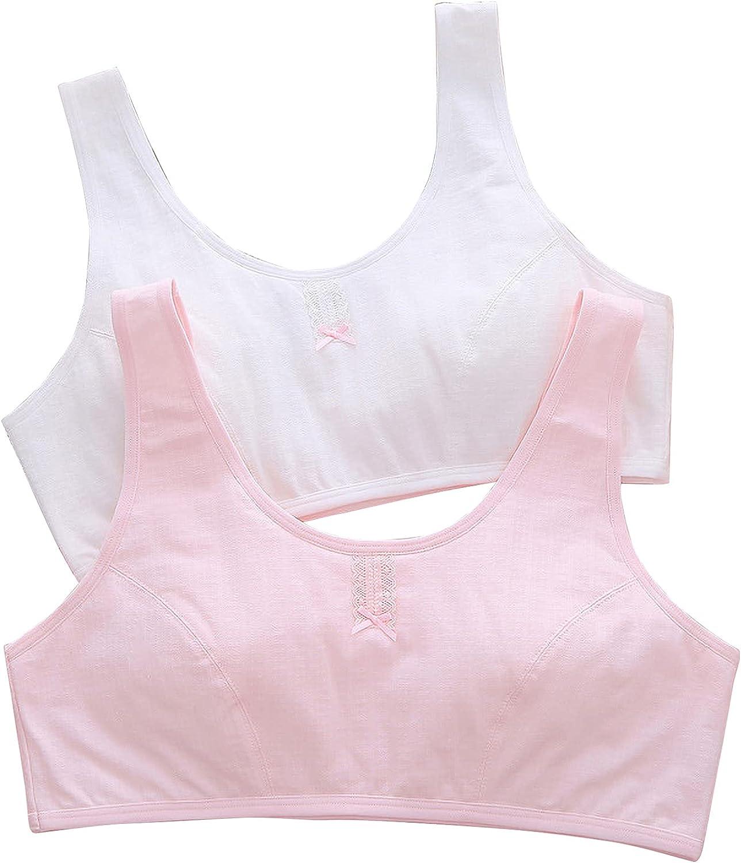 FEOYA Big Girls Bra Cotton Bra Comfort Seamless Training Sport Bras for Girls Pack