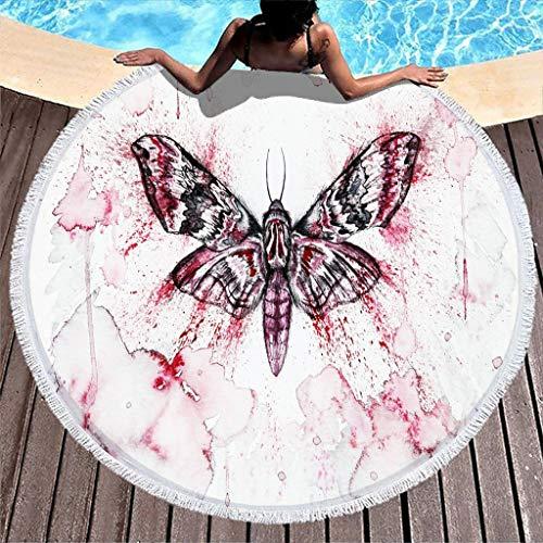 Toalla de playa de felpa grande con diseño de mariposa, color rojo, manta de mandala, esterilla de yoga a prueba de arena, bata redonda de 59 pulgadas con