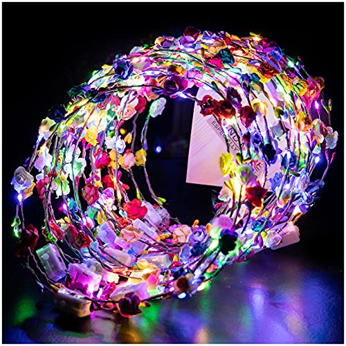 20pcs LED Flower Crowns Headbands- Multicolor Light Up Flower Hair Garlands Halloween Glowing Floral Wreath Crowns for Women Girls Brides Birthday Wedding Halloween Dark Party Photography Props