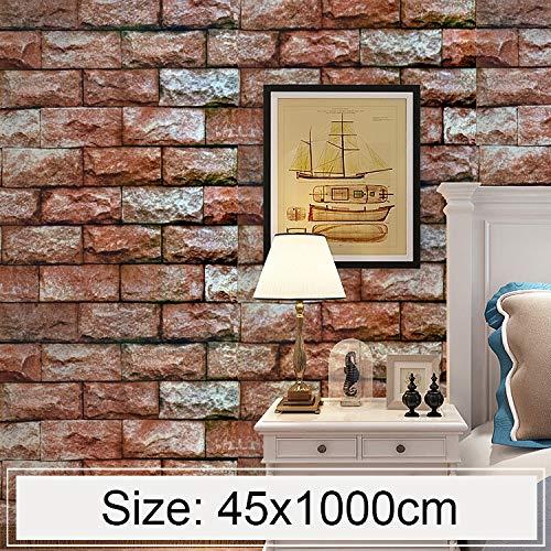 FAMILIE TOOLS & WALLTREATMENTS STICKERS JJRKYY Qi Yunshi Creative 3D Stone Brick Decoratie behang sticker slaapkamer woonkamer muur waterdicht behang roll, grootte: 45 x 1000 cm