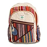 Maha Bodhi All Natural Handmade Multi Pocket Hemp Laptop Backpack - Multi Color Stripe