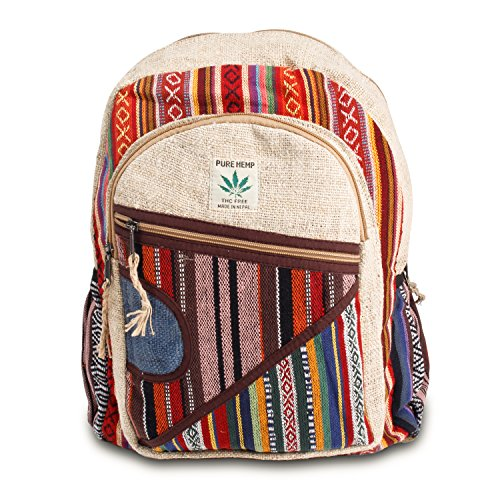Maha Bodhi All Natural Handmade Multi Pocket Hemp Laptop Backpack - Multi Color Stripe