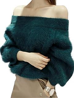 PERSUN Women's Off Shoulder Pullover Sweater Long Sleeve Knit Jumper