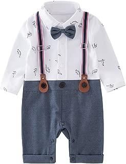 May's Baby Boys Long Sleeves Dinosaurs Printing Bowtie Suspenders Romper