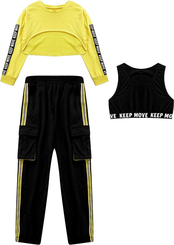 Hansber Kids Girls Hip Hop Dance 3 Piece Tracksuit Hoddies Crop Top with Harem Sweatpants Workout Sweatsuit
