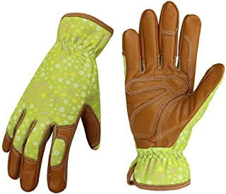 Leather Working Gloves for Women Gardener Planting,Restoration Work,Durable Protective Gardening Gloves, (Green)
