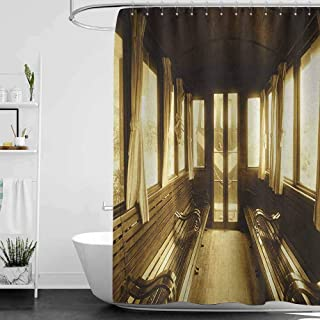 hengshu Antique Professional Shower Curtain Old Vintage Train Salon Inside Historical Transport Windows with Curtains Arch Shape Decorative Bathroom Curtains W55 x L72 Inch Sepia