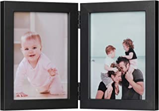 ONE WALL Tempered Glass 5x7 Inch Double Picture Frame Black Dual Folding Photo Frame for Wall Hanging & Tabletop Display