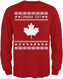Old Glory Canadian Canada Eh Ugly Christmas Sweater Mens Long Sleeve T Shirt