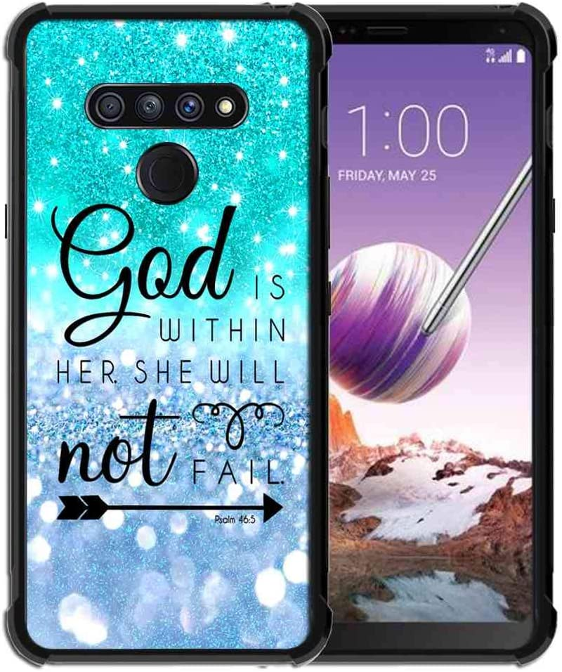 Phone Case for LG Stylo 6 Case (2020) for Girls Women Teal Blue Sparkle Glitter, ABLOOMBOX Anti Scratch Slim Bumper Shockproof Protective Case Cover Reinforced Corners