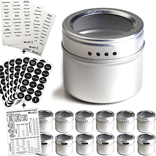 Talented Kitchen 12 Magnetic Spice Tins and 2 Types of Spice Labels. 12 Storage Spice Containers, Magnetic Spice Jars with Window Top and Sift-Pour. 240 Preprinted Spice Stickers. Spice Rack On Fridge
