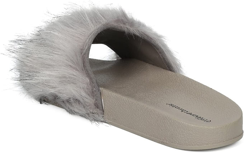 Alrisco Heartthentic FLO-10 Women Faux Fur Open Told Molded Footbed Slide HD75 - Grey Faux Fur (Size: 9.0)