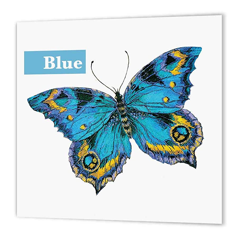 3dRose ht_200543_2 Butterfly Blue, Vintage Butterfly Iron on Heat Transfer Paper for White Material, 6 by 6