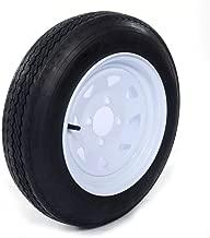 Motorhot Two 4.80 X 12 Trailer Tire & Rim 4.80-12 480-12 Load B 4 Lug Wheel White Spoke Pack of 2