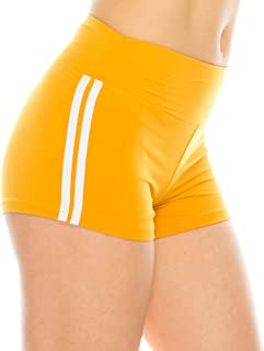 ALWAYS Women Workout Yoga Shorts - Premium Buttery Soft Stretch Athletic Running Dance Voleyball Short Pants with Stripes