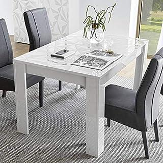 NOUVOMEUBLE Table à Manger Extensible Blanc laqué Design Paolo