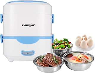 Lomejor Self Cooking Electric Lunch Box, Mini Rice Cooker, Multi-function Cooking Steaming Lunch Box for Home Office School Cook Raw Food, 1.5L/110V/ Blue