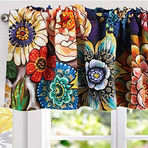 YoKii Floral Valances for Windows 18''L Room Darkening Tribal Chic Boho Valance Curtains Blackout Window Treatments for Kitchen Bedroom Living Room Decors (W52 x L18, Colorful)