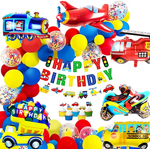 MOVINPE Transportation Birthday Decoration for Boys Happy Birthday Banner Cars School Bus Train Fire Truck Motorcycle Plane Foil Balloons Transport Vehicles Cake Topper Kids 1st