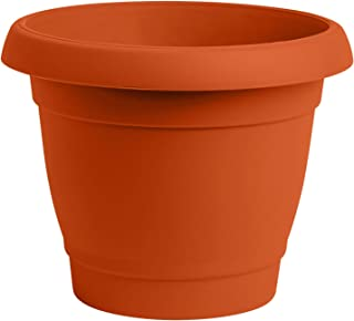 ALMI Carmel Round Planter 9 Inch [3-Pack] Plastic Rounded Pot for Garden, Elegant Shaped Flower Tree, Tapered Planters for Plants, Small Trees, UV Resistant Paint, Indoor & Outdoor - Orange